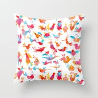 takmaj Throw Pillows featuring Birds by takmaj