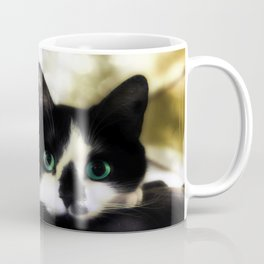 The Tuxedo with the Green Cat Eyes Coffee Mug