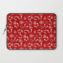 Christmas Cats and Ornaments (Red and White) Laptop Sleeve