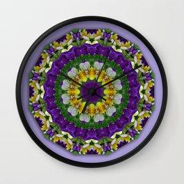 Pansy, Nature Flower Mandala, Floral mandala-style Wall Clock