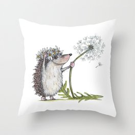 Hedgehog & Dandelion Throw Pillow