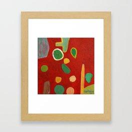 Scattered Things over Red Framed Art Print
