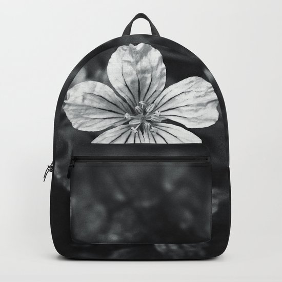 Minimalistic black and white flower petal Backpack