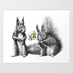 Squirrels - love gift G128 Art Print