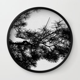 Pine Tree Black & White Wall Clock