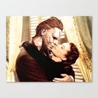 michael myers Canvas Prints featuring Michael Myers as Clark Gable by Luigi Tarini