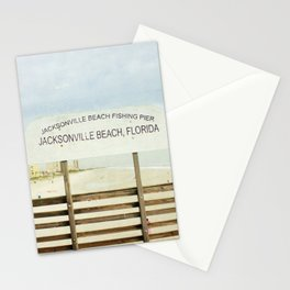 Jacksonville Beach Pier Sign Stationery Cards