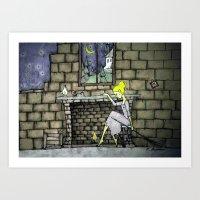 cinderella Art Prints featuring cinderella by Maria Sciarnamei