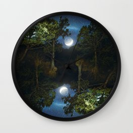 Moonset in coniferous forest Wall Clock