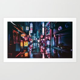 Shimbashi at Night Art Print