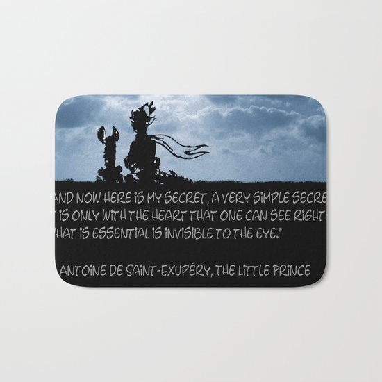 The little prince and the fox - dream version blue - quote Bath Mat