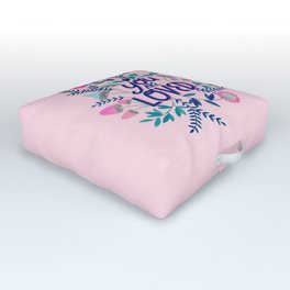 You are loved quote botanical illustration in pink Outdoor Floor Cushion