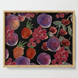 Moody Plums, Cherries, Currants, Strawberries Print Serving Tray