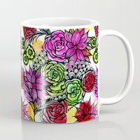 alisa burke Mugs featuring colorful flower doodles by Alisa Burke