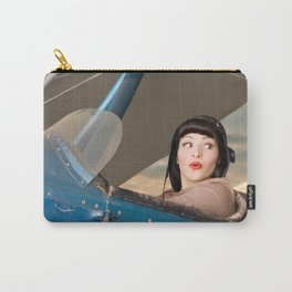 """""""Plucky Pilot"""" - The Playful Pinup - Pilot Pin-up Girl in Airplane by Maxwell H. Johnson Carry-All Pouch"""