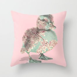 Cherry Blossom Baby Duck Throw Pillow