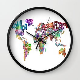 Text Map of the World Wall Clock