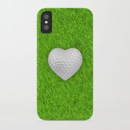 Golf ball heart / 3D render of heart shaped golf ball iPhone Case