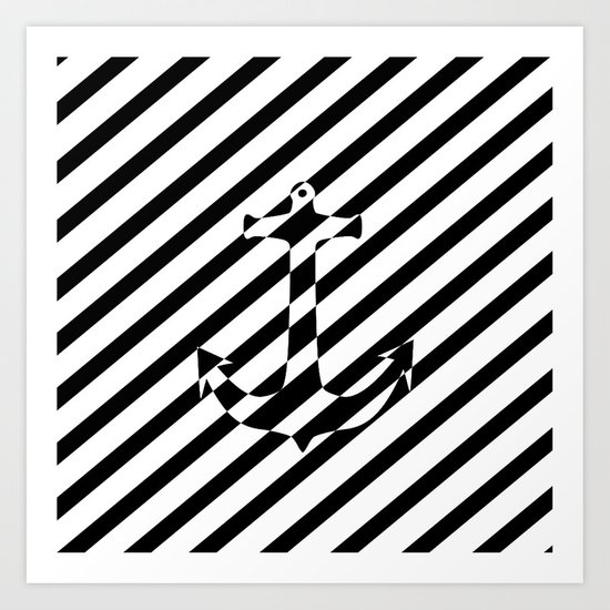 Stripes Nautical Anchor Black White Color Block Art Print