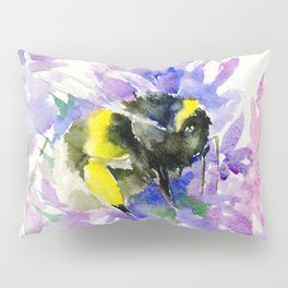 Bumblebee and Lavender Flowers, nature bee honey making decor Pillow Sham