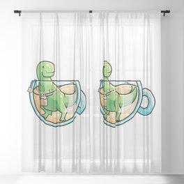 Kawaii Cute Tea-Rex Pun Sheer Curtain