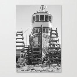 Shipyard Wooden Boat Fishing Ladders Black White Industrial Boatyard Northwest Shipwright Canvas Print