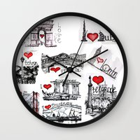 cities Wall Clocks featuring Cities 1  by sladja