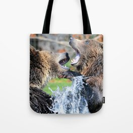 Sparring Grizzly Bears Tote Bag