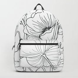 Poppies Line Drawing Backpack