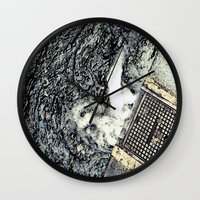 rush Wall Clocks featuring Rush by Paper Possible