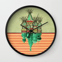 architecture Wall Clocks featuring Pineapple architecture  by AmDuf