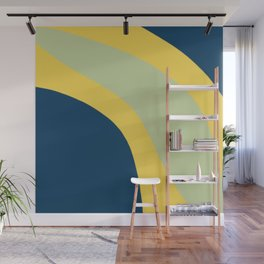 Navy Blue, Yellow and Sage Abstract Shapes Wall Mural
