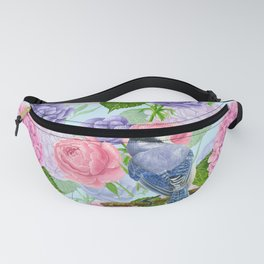 Blue jay and flowers watercolor pattern Fanny Pack