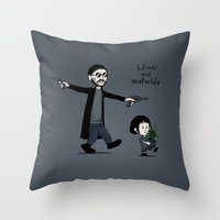 hobbes Throw Pillows featuring Leon and Mathilda by Justyna Dorsz