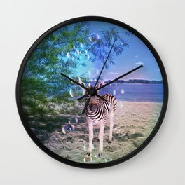 Bubbles with Zebra Wall Clock