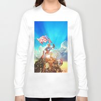 avenger Long Sleeve T-shirts featuring Captain (Avenger) America by Brian Hollins art