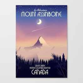 Mount Assiniboine Canada travel poster Canvas Print