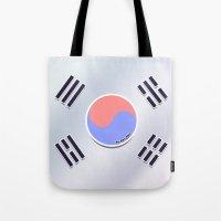 korean Tote Bags featuring Korean Flag by AyuChii