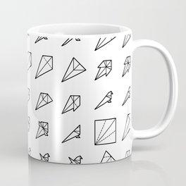 Origami Bird - Step by Step (Black) Coffee Mug