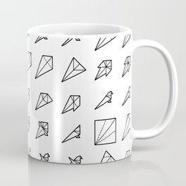 Origami Bird - Step by Step (Black) Coffee Mug