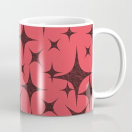 Shimmering Black Stars in Red Background Coffee Mug