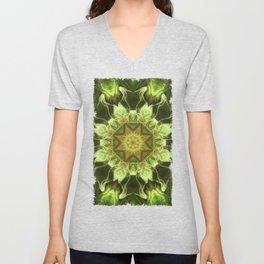 Planet Tree - Green Fractal Mandala - Manafold Art Unisex V-Neck
