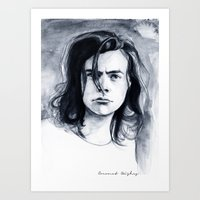 coconutwishes Art Prints featuring Harry Watercolors B/N by Coconut Wishes
