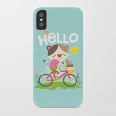 Cat on a bike iPhone X Slim Case