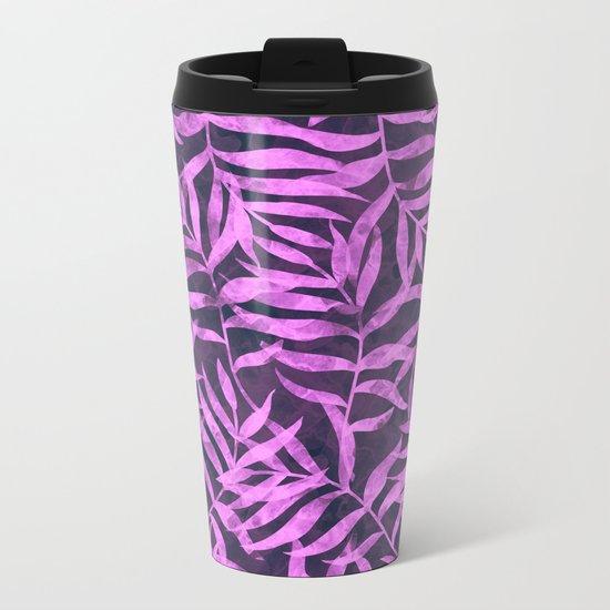 Watercolor Tropical Palm Leaves VIII Metal Travel Mug