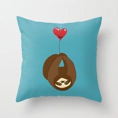 Sloth and Heart Balloon Throw Pillow