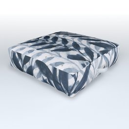 Blue Leaves Watercolor Outdoor Floor Cushion