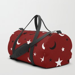 Red background with black and white moon and star pattern Duffle Bag