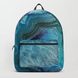 Aqua Turquoise Crystal Mineral Gem Agate Backpack