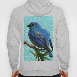 AQUA SPRING BLUE BIRD ART Hoody